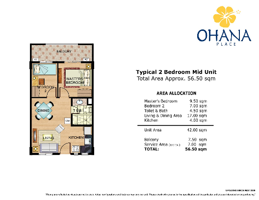Ohana 2 Bedroom Layout