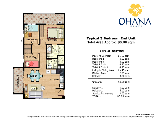 OHANA 3 Bedroom Layout
