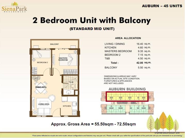 Siena 2 Bedroom Standard Rear unit