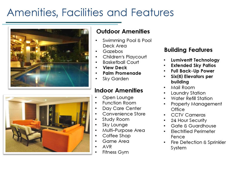 Lumiere Residences Amenities Facitilies and Features