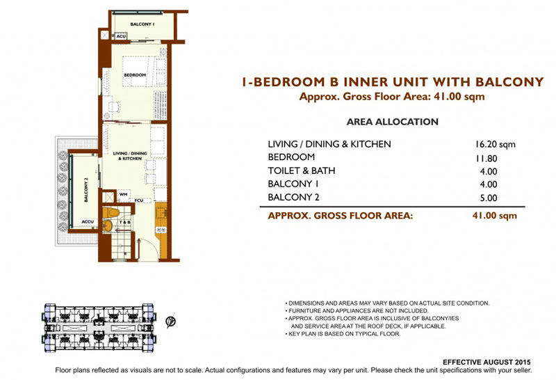 Fairway Terraces 1 Bedroom B Layout