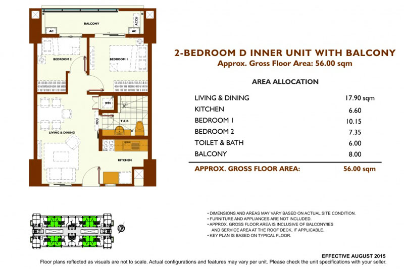 Fairway Terraces 2 Bedroom D Layout