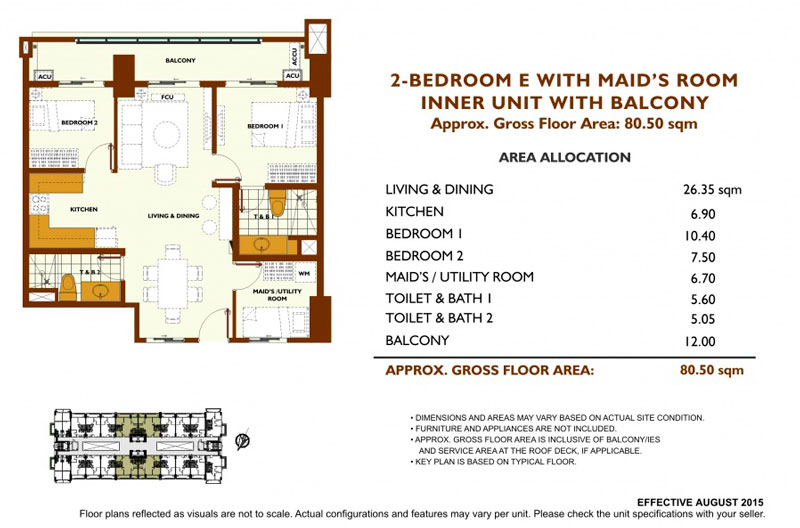 Fairway Terraces 2 Bedroom E Layout